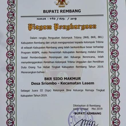 BKR Sido Makmur Sriombo Meraih Juara ke 3 Lomba BKR Unggulan Tingkat Kabupaten Rembang
